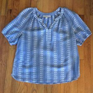 Blue and white Ann Taylor Loft peasant blouse